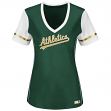 "Oakland Athletics Women's Majestic MLB ""Curveball"" V-Neck Fashion Shirt Top"
