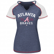 "Atlanta Braves Women's Majestic MLB ""Golden Future"" S/S Split Neck Shirt Top"