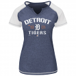 "Detroit Tigers Women's Majestic MLB ""Golden Future"" S/S Split Neck Shirt Top"