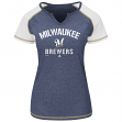 "Milwaukee Brewers Women's Majestic MLB ""Golden Future"" S/S Split Neck Shirt Top"