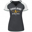 "Oakland Athletics Women's Majestic MLB ""Golden Future"" S/S Split Neck Shirt Top"