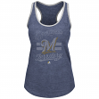 "Milwaukee Brewers Women's Majestic MLB ""Crushing It"" Scoop Neck Tank Top"