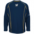 Milwaukee Brewers Majestic MLB Authentic On-Field Crew Pullover Sweatshirt