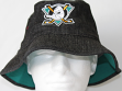 Anaheim Mighty Ducks Mitchell & Ness NHL Black Stone Wash Bucket Hat