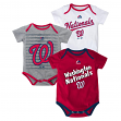 "Washington Nationals Infant Majestic MLB ""Triple Play"" 3 Pack Bodysuit Set"