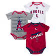 "Los Angeles Angels Newborn Majestic MLB ""Triple Play"" 3 Pack Bodysuit Set"