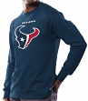 Houston Texans Majestic NFL Critical Victory Men's Long Sleeve Navy T-Shirt