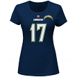 Philip Rivers San Diego Chargers Women's Majestic NFL Fair Catch V T-shirt
