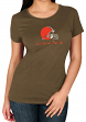 """Cleveland Browns Women's Majestic NFL """"Skinny Post"""" Short Sleeve T-shirt"""