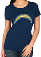 "San Diego Chargers Women's Majestic NFL ""Skinny Post"" Short Sleeve T-shirt"