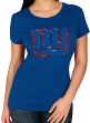 "New York Giants Women's Majestic NFL ""Skinny Post"" Short Sleeve T-shirt"