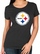 "Pittsburgh Steelers Women's Majestic NFL ""Skinny Post"" Short Sleeve T-shirt"