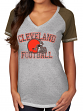 """Cleveland Browns Women's Majestic NFL """"Believe"""" V-neck Heathered T-shirt"""