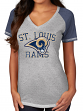 "St. Louis Rams Women's Majestic NFL ""Believe"" V-neck Heathered T-shirt"