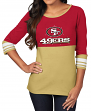 "San Francisco 49ers Women's Majestic NFL ""Roster Rush"" 3/4 Sleeve T-shirt"