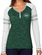 "New York Jets Women's Majestic NFL ""Lead Play"" Long Sleeve Henley Shirt"