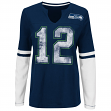 "Seattle Seahawks Women's Majestic NFL ""Kickoff"" L/S Notch Neck Shirt"