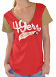 "San Francisco 49ers Women's G-III NFL ""Catch"" Cotton Slub V-neck T-shirt"