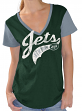 "New York Jets Women's G-III NFL ""Catch"" Cotton Slub V-neck T-shirt"