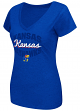 "Kansas Jayhawks Women's NCAA ""Gamma"" V-neck Dual Blend T-Shirt"