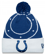 Indianapolis Colts New Era NFL Logo Whiz Cuffed Knit Hat with Pom