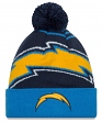 San Diego Chargers New Era NFL Logo Whiz Cuffed Knit Hat with Pom