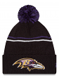 "Baltimore Ravens New Era NFL ""Logo Crisp"" Cuffed Knit Hat with Pom"