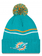 "Miami Dolphins New Era NFL ""Logo Crisp"" Cuffed Knit Hat with Pom"