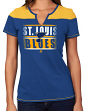 "St. Louis Blues Women's NHL Majestic ""Moment"" Notch Neck T-shirt"