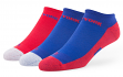 "New York Giants NFL 47 Brand ""Gait"" 3 Pack Colorblocked Men's No Show Socks"