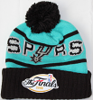 San Antonio Spurs Mitchell & Ness NBA 2005 Championship Patch Pom Knit Hat