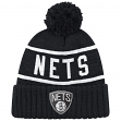 "Brooklyn Nets Mitchell & Ness NBA ""Reflective Patch"" Cuffed Knit Hat w/Pom"