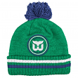 "Hartford Whalers Mitchell & Ness NHL ""Big Man"" Cuffed Premium Pom Knit Hat"