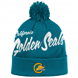"California Golden Seals Mitchell & Ness NHL ""Double Up"" Cuffed Premium Pom Knit Hat"