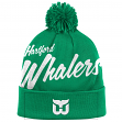 "Hartford Whalers Mitchell & Ness NHL ""Double Up"" Cuffed Premium Pom Knit Hat"