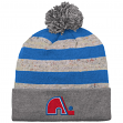 """Quebec Nordiques Mitchell & Ness NHL """"Speckled Crown"""" Cuffed Knit Hat w/ Pom"""