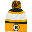 "Boston Bruins Mitchell & Ness NHL ""Quilted Crown"" Cuffed Knit Hat w/Pom"