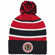 "Chicago Blackhawks Mitchell & Ness NHL ""Quilted Crown"" Cuffed Knit Hat w/Pom"