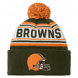 "Cleveland Browns Youth NFL ""Striped Jacquard"" Cuffed Knit Hat w/ Pom"