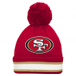 "San Francisco 49ers Youth NFL ""Striped Cuff"" Cuffed Knit Hat w/ Pom"