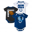 """Indianapolis Colts NFL """"3 Point Spread"""" Newborn 3 Pack Bodysuit Creeper Set"""