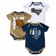 "St. Louis Rams NFL ""3 Point Spread"" Newborn 3 Pack Bodysuit Creeper Set"