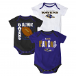 "Baltimore Ravens NFL ""3 Point Spread"" Newborn 3 Pack Bodysuit Creeper Set"