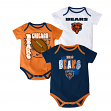"Chicago Bears NFL ""3 Point Spread"" Infant 3 Pack Bodysuit Creeper Set"