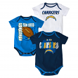 "San Diego Chargers NFL ""3 Point Spread"" Infant 3 Pack Bodysuit Creeper Set"