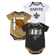 "New Orleans Saints NFL ""3 Point Spread"" Infant 3 Pack Bodysuit Creeper Set"