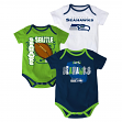 "Seattle Seahawks NFL ""3 Point Spread"" Infant 3 Pack Bodysuit Creeper Set"
