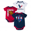 "Houston Texans NFL ""3 Point Spread"" Infant 3 Pack Bodysuit Creeper Set"