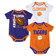 "Clemson Tigers NCAA ""3 Point Spread"" Newborn 3 Pack Bodysuit Creeper Set"