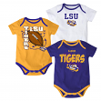 "LSU Tigers NCAA ""3 Point Spread"" Newborn 3 Pack Bodysuit Creeper Set"